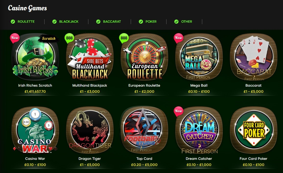 888 Casino Automated Casino Games and Slots
