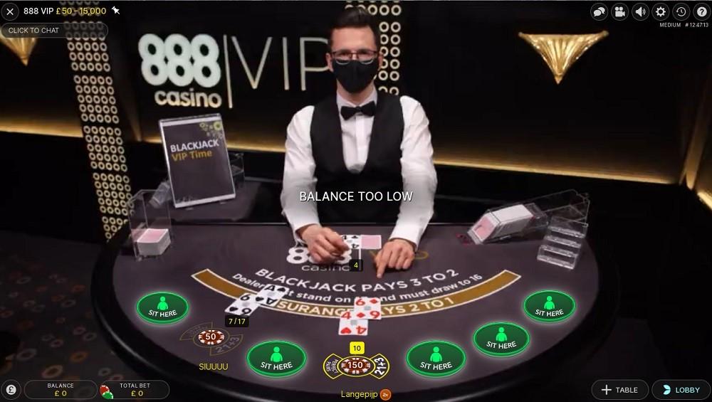 888 Casino Live Blackjack 2