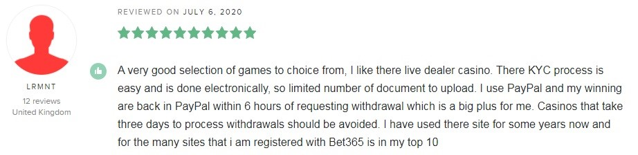 Bet365 Casino Player Review 4