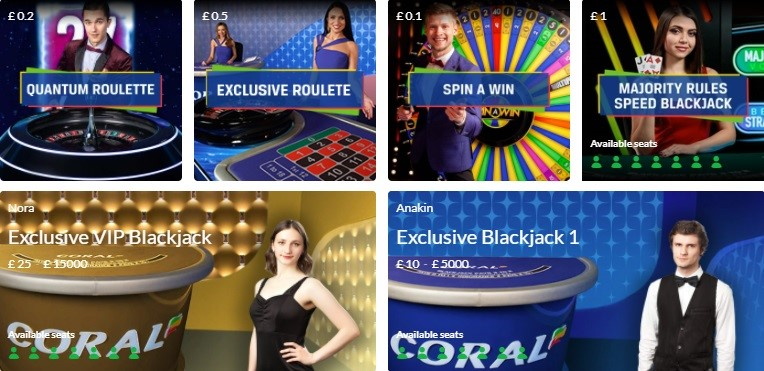 Coral Casino Live Casino Games