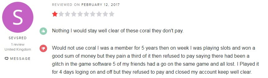 Coral Casino Player Review 4