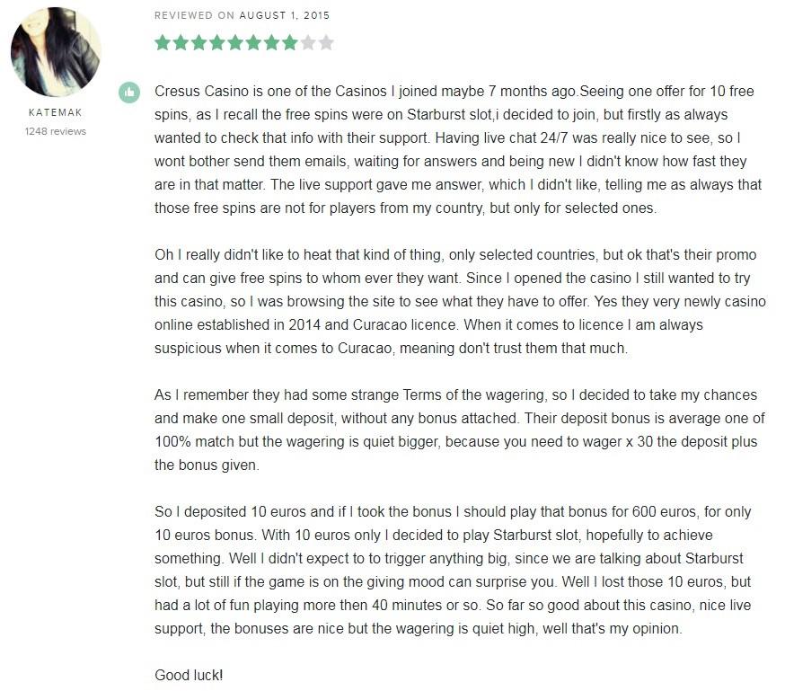 Cresus Online Casino Player Review 3
