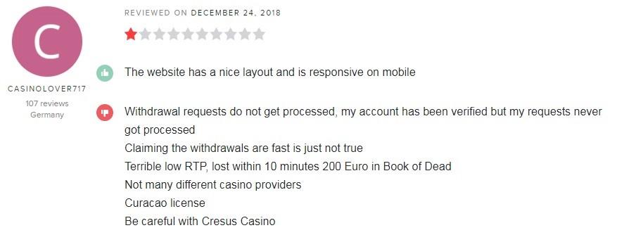Cresus Online Casino Player Review