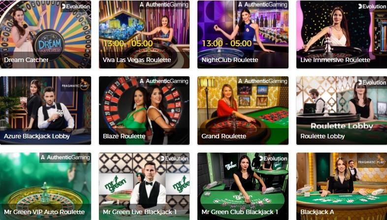 Mr Green Casino Live Casino Games