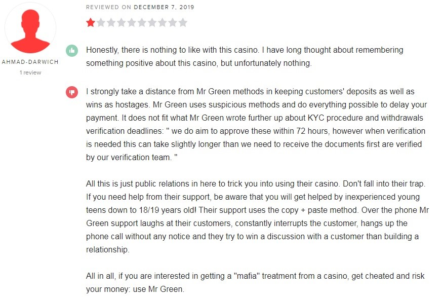 Mr Green Casino Player Review