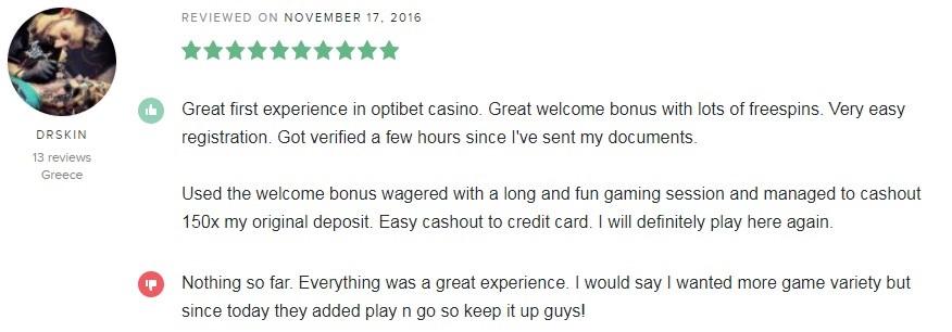 Optibet Casino Player Review 2
