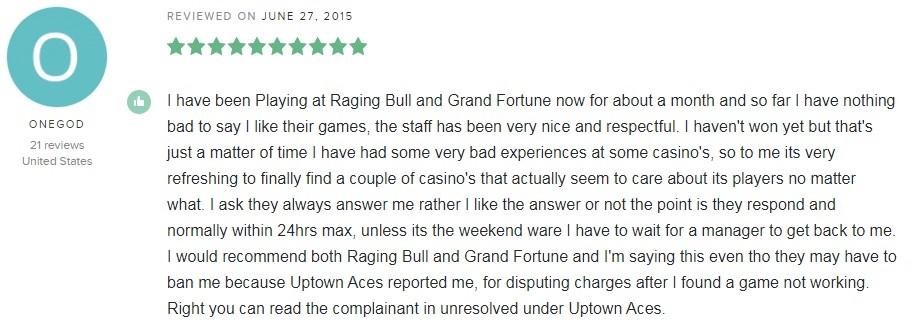 Raging Bull Casino Player Review 6