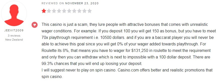 Spin Casino Player Review