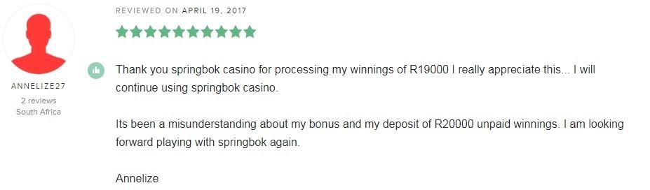 Springbok Casino Player Review 3