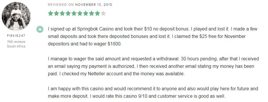Springbok Casino Player Review 5