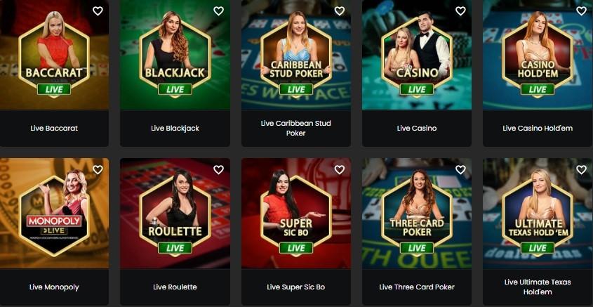 Zodiac Casino Live Casino Games