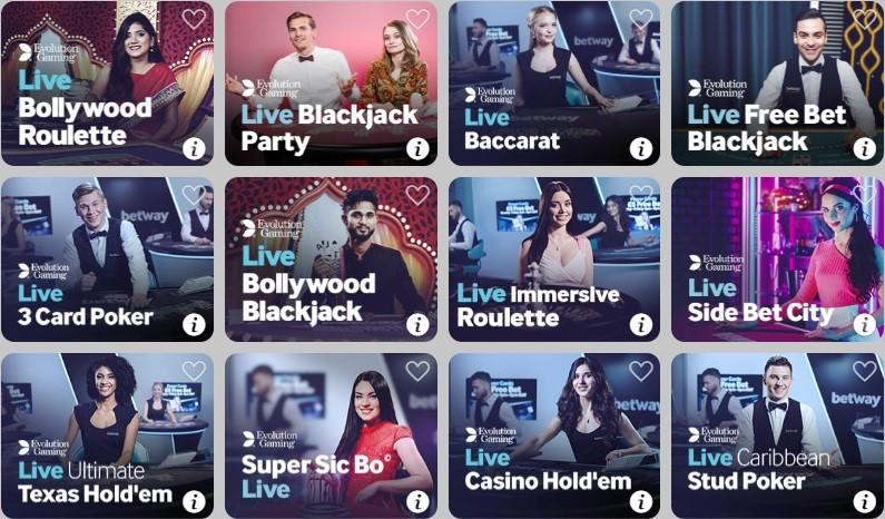BetWay Casino Live Casino Games