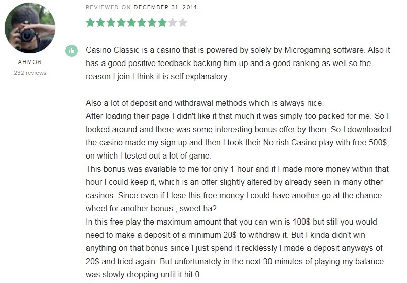 Casino Classic Player Review 4