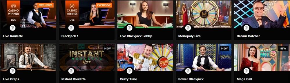 Casino Winner Live Casino Games