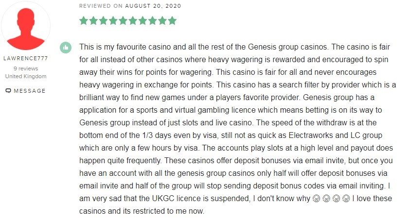 Genesis Casino Player Review 2