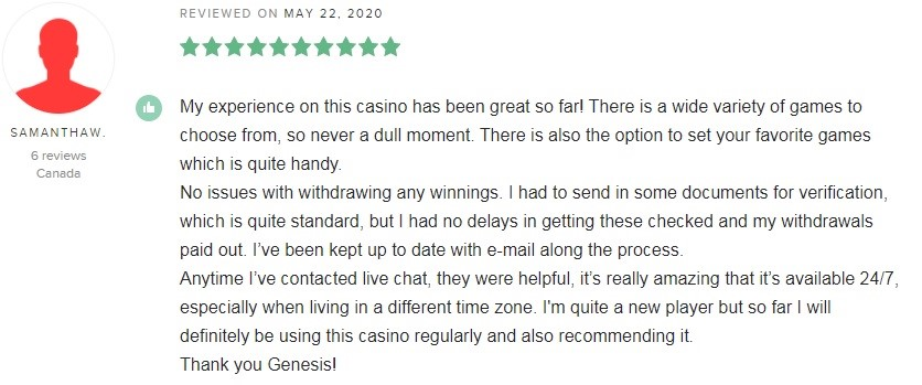 Genesis Casino Player Review 3