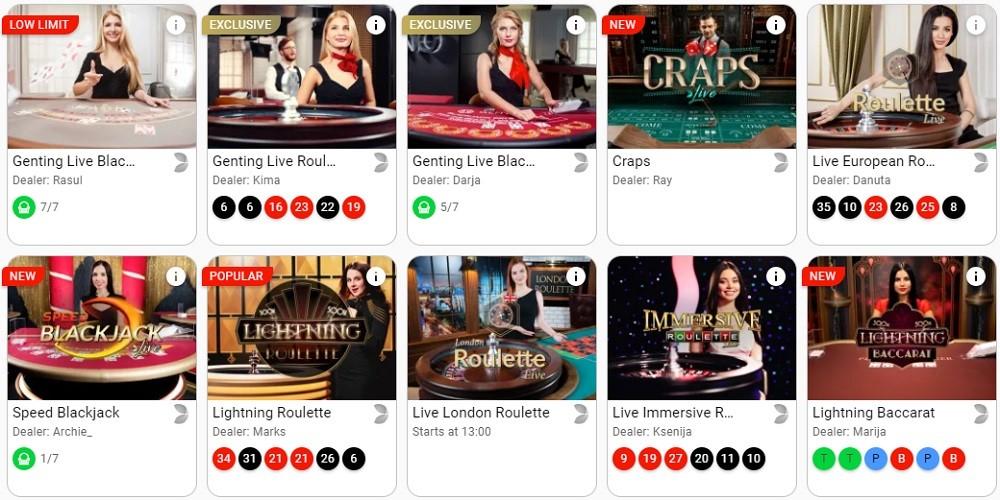 GentingBet Casino Live Casino Games
