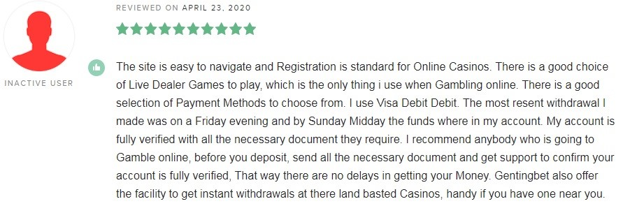 GentingBet Casino Player Review 5