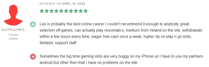 LeoVegas Casino Player Review 4
