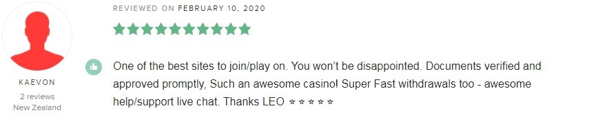 LeoVegas Casino Player Review 5