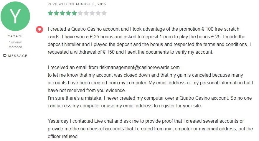 Quatro Casino Player Review 2