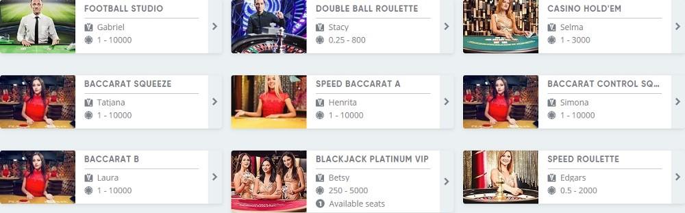 Speedy Casino Live Casino Games