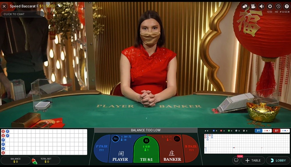 Spin Palace Casino Live Baccarat