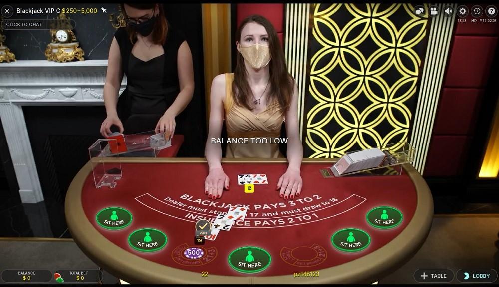 Spin Palace Casino Live Blackjack