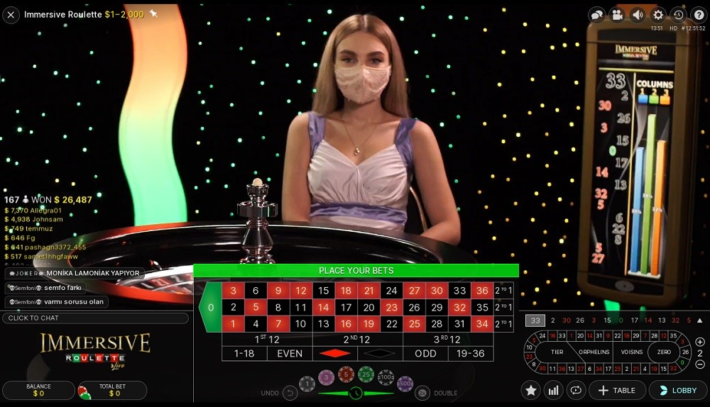 Spin Palace Casino Live Roulette