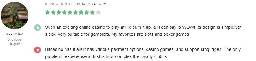 Bitcasino Player Review 2