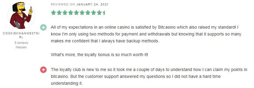 Bitcasino Player Review 4