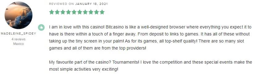 Bitcasino Player Review 5