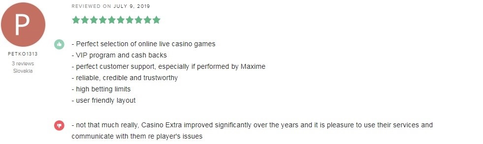 Casino Extra Player Review 3