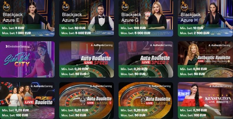 Frank Casino Live Casino Games