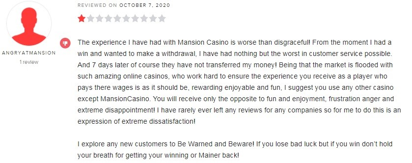Mansion Casino Player Review 3