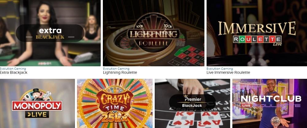 Pronto Casino Live Casino Games