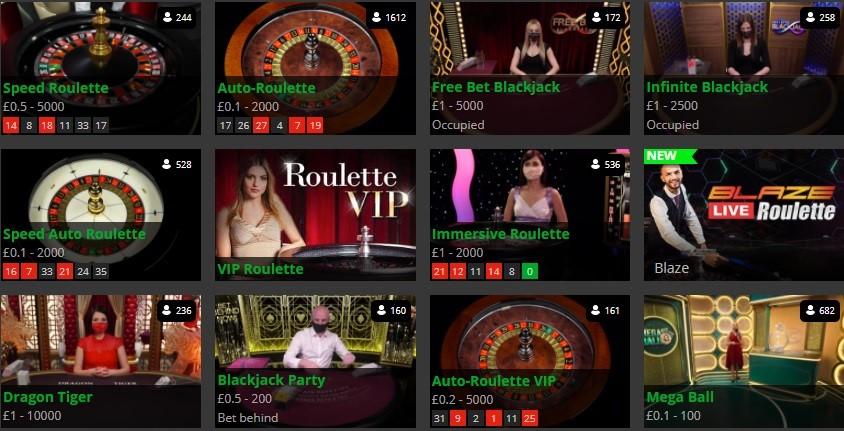 Hopa Casino Live Casino Games