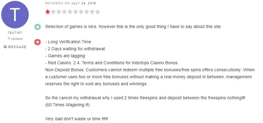 Intertops Casino Player Review