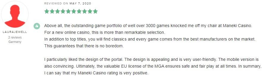 Maneki Casino Player Review 4