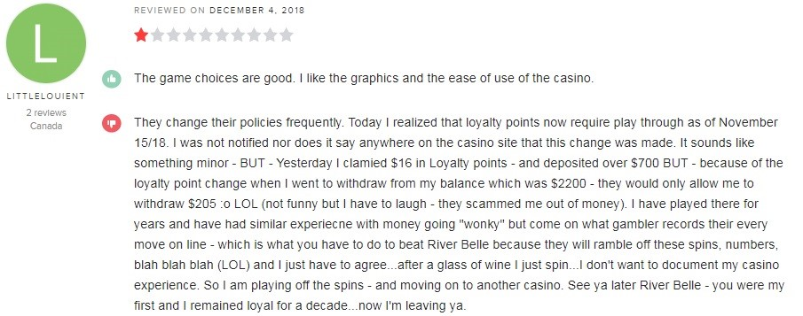 River Belle Casino Player Review