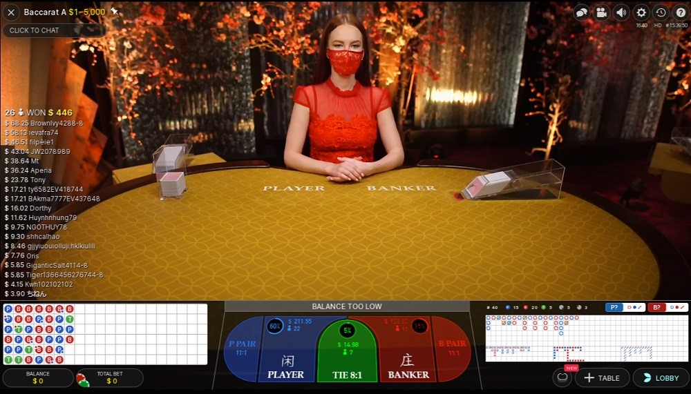Ruby Fortune Casino Live Baccarat