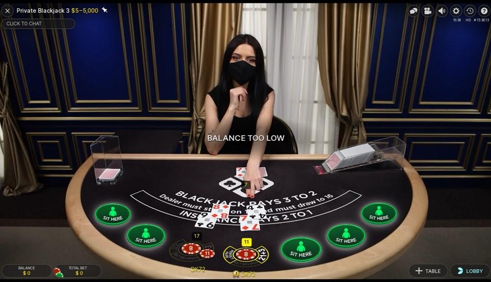 Ruby Fortune Casino Live Blackjack