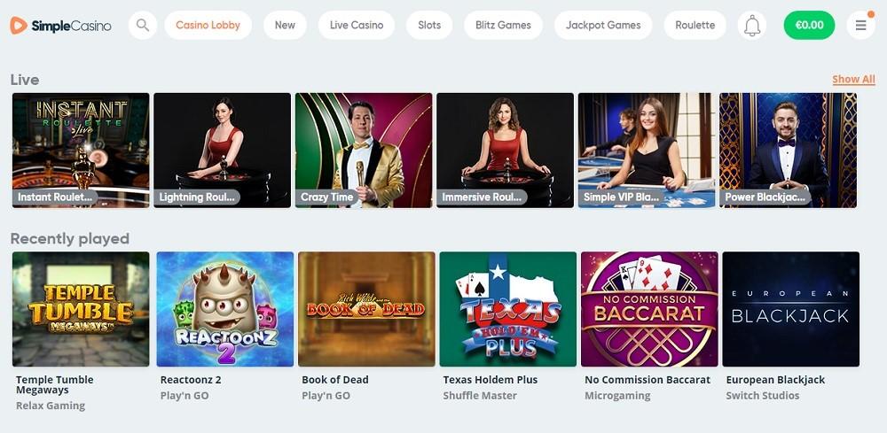Simple Casino Members Area