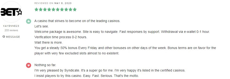 Syndicate Casino Player Review 5