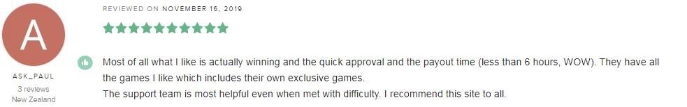 TradaCasino Player Review 4