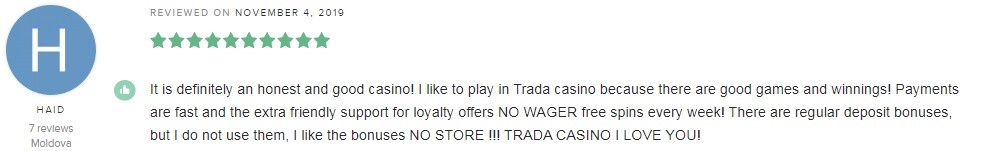 TradaCasino Player Review 5