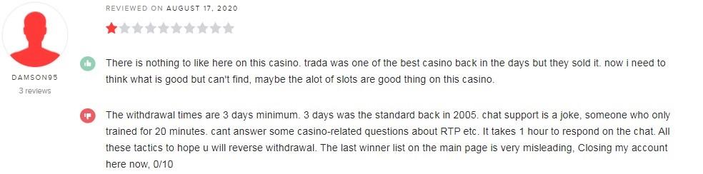 TradaCasino Player Review