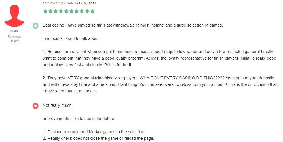 Casino Euro Player Review 3