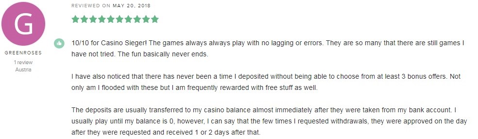 Casino Sieger Player Review 5