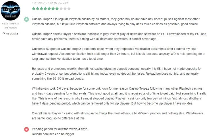 Casino Tropez Player Review 2